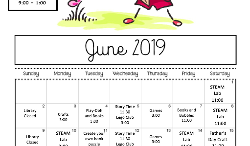 Bring your children to the library for lots of fun activities! Check out the calendar for additional events.