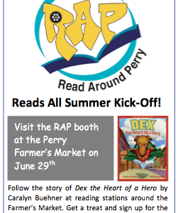 Tomorrow the library will be at the Perry Farmer's Market. Come visit our booth, get a treat, read a book, and sign up for summer activities for your children.