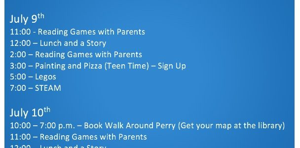 This weeks children's activities at the library!