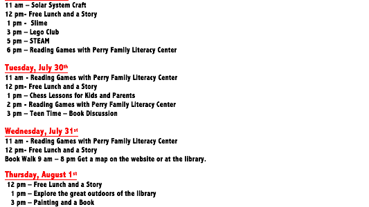 What's happening this week at the library for children? Check out the schedule and come and have fun at the library at all the fun events!