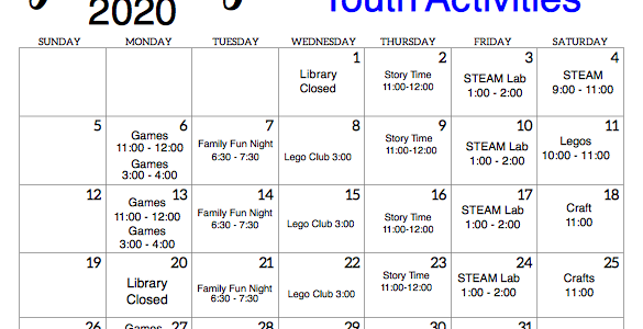 Check out all the youth events for January.