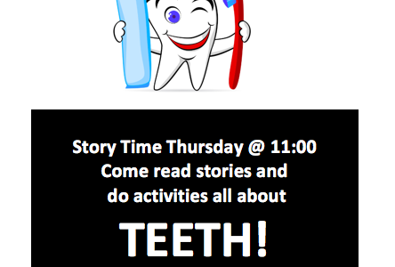 Story Time Thursdays at 11:30! Bring your kiddos!
