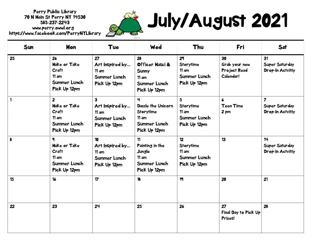 Events Calendar for Summer Reading at Perry Public Library July 25th through August 28th.