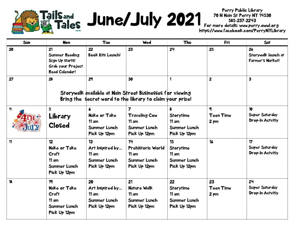 Events Calendar for Summer Reading at Perry Public Library June 20th-July 24th